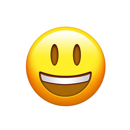 Isolated yellow smiling face with the upper white teeth icon