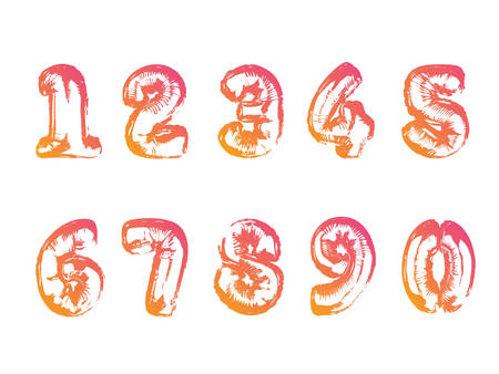 The isolated gradient air balloon number font collection Illustration