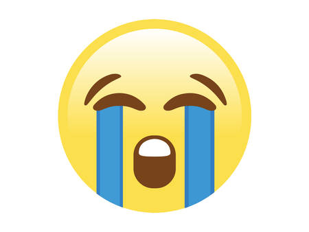 The isolated vector yellow unhappy face with crying tear flat icon.