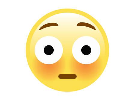 O vetor amarelo isolado rosto envergonhado com ícone plana bochechas vermelhas vermelhas. Foto de archivo - 94795863