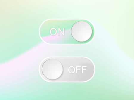 The Vector green interface icon On and Off Toggle switch holographic art button Illustration