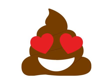 poop icon with hearts eyes Vector illustration isolated on white background. Illustration
