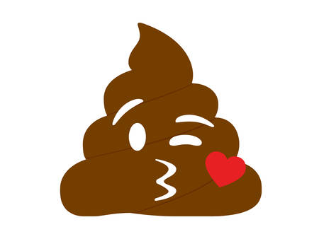 Isolated brown dung with kissing mouth and heart flat icon