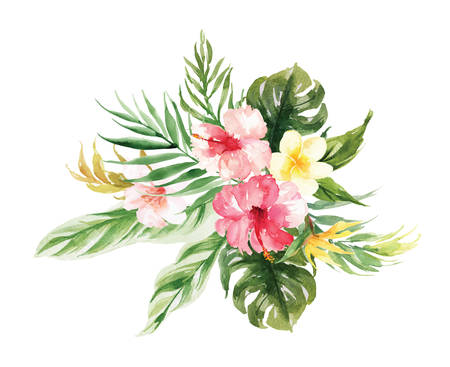 The isolated vector Yellow, pink flower and leaf wedding decoration 版權商用圖片 - 97900216