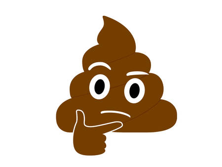The isolated brown dung pondering face with right hand flat icon