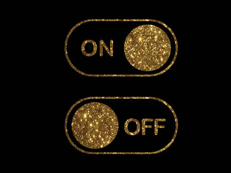 Golden flat icon on and off toggle switch button