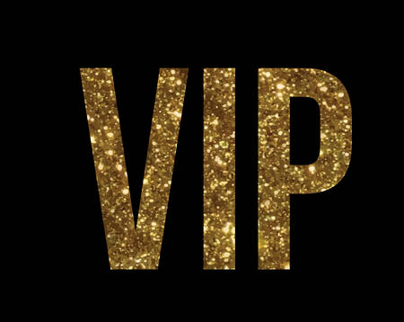 The vector golden glitter isolated standard font type word VIP on black background.