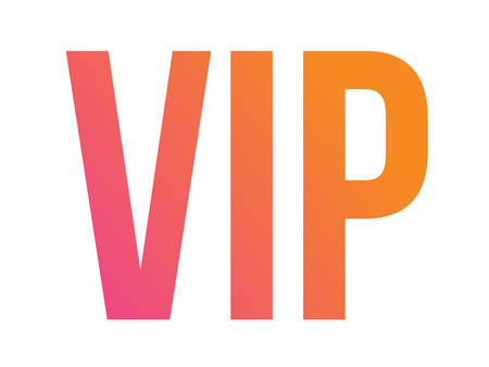 The vector gradient isolated standard font type word VIP which means very important person. Illustration