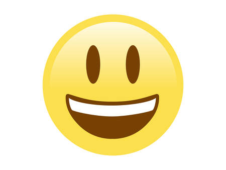 The isolated yellow smiling face with the upper white teeth icon