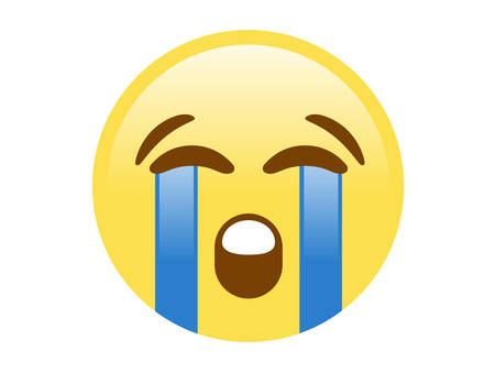 The isolated yellow unhappy face with crying tear icon