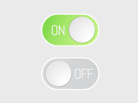 The flat vector icon On and Off toggle switch modern button