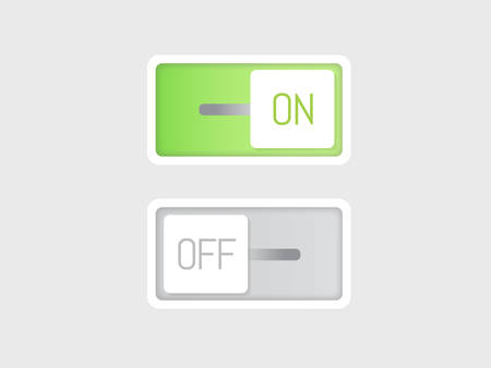 The flat vector icon on and off toggle switch modern button. Illustration