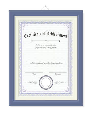 The isolated vertical vector certificate of achievement on wooden picture frame
