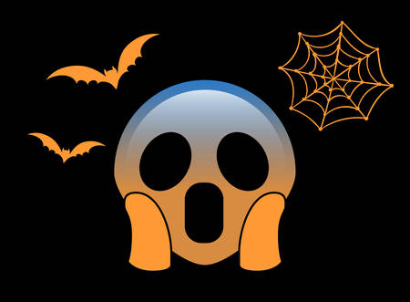 The isolated gradient orange scary and spooky face flat icon with flying bat and spider net