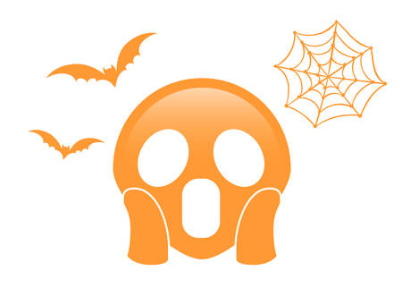 The isolated orange scary and spooky face flat icon with flying bat and spider net