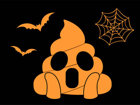The isolated orange scary shit face flat icon with flying bat and spider net