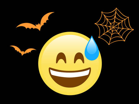The isolated scary face flat icon with sweat, flying bat and spider net