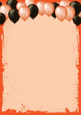 The vertical blank Halloween banner  background with air balloons