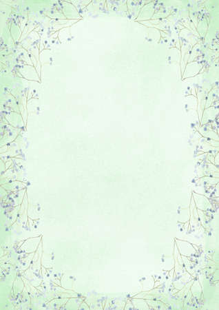 The vertical green grunge retro style paper background with flower drawing border