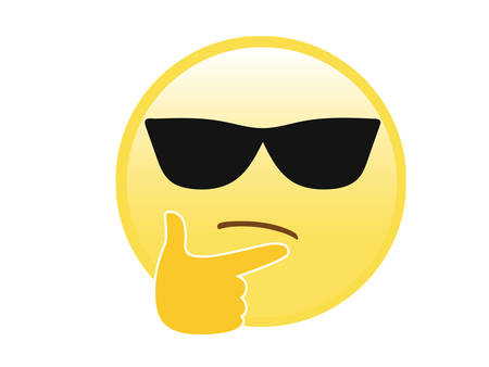 The isolated vector yellow considering face with right hand and sunglasses flat icon on white blackground Ilustração