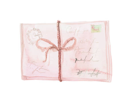 The isolated vector hand painted pastel pink watercolor envelope with stamp