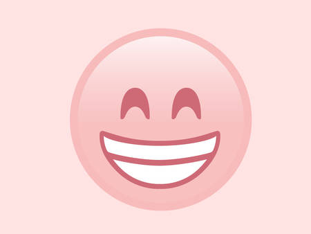 The isolated pink smiling face with the white teeth icon