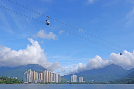 Cable cars and residential buildings in Hong Kong
