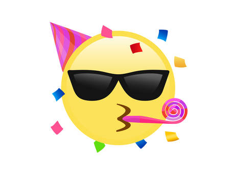 The isolated yellow kissing mouth icon with sunglasses face, party hat and confetti