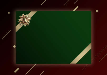 Green Christmas banner template with golden flower ribbon