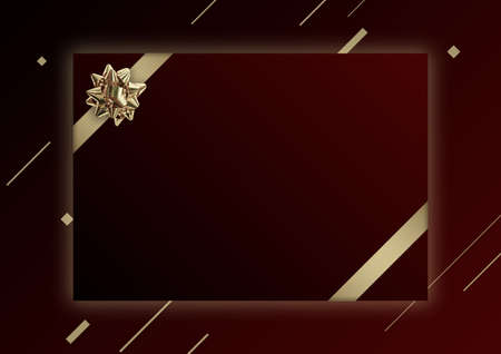 Red Christmas banner template with golden flower ribbon