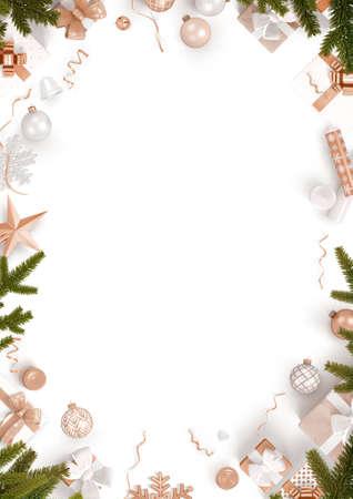 Borde de decoración de año nuevo y fondo blanco.