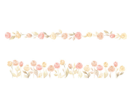 The isolated vector pastel pink and yellow rose flower wedding decoration Illustration