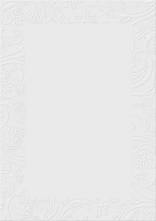 The White textured background paper with embossed floral border Stock fotó