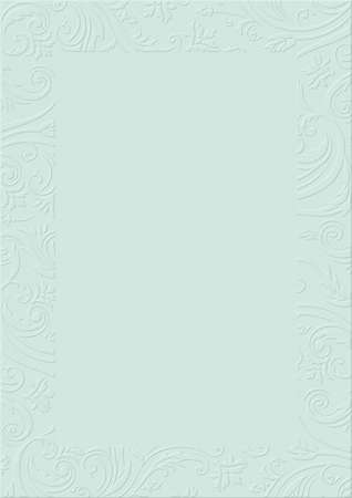 The pastel blue textured background paper with embossed floral border