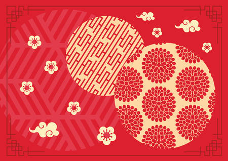 The red Lunar Chinese New Year banner background template with retro border