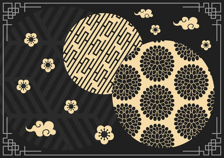 The pink Lunar Chinese New Year banner background template with retro border Banco de Imagens - 125564080