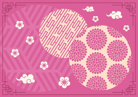 The purple Lunar Chinese New Year banner background template with retro border Çizim