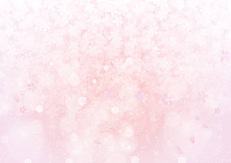 The gradient pink sakura flower and cherry petal pattern wallpaper background