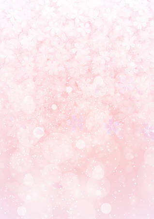 The gradient pink sakura flower and cherry petal pattern paper background Ilustração