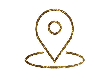 The isolated gold glitter vector interface online location map line flat icon