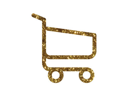 The isolated gold glitter interface online checkout shopping cart line flat icon