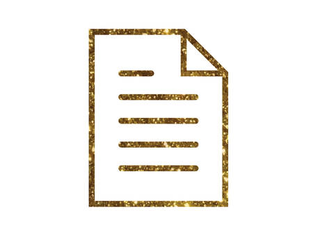 The isolated gold glitter vector interface work file document line flat icon
