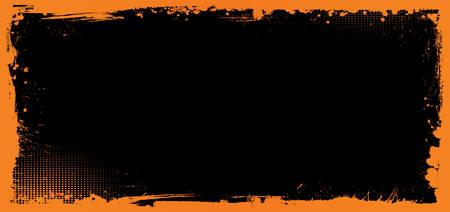 The horizontal vector orange and black Halloween banner background with grunge border Ilustração