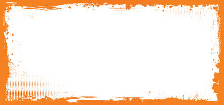 The horizontal vector orange and white Halloween banner background with grunge border