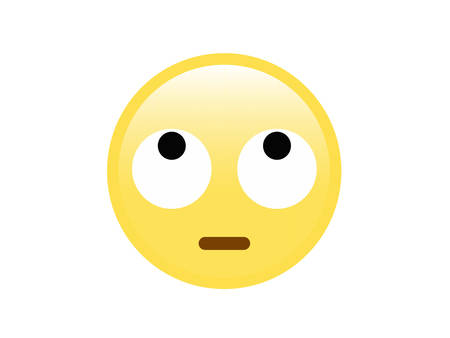 The vector yellow disappointed face icon with rolling white eyes