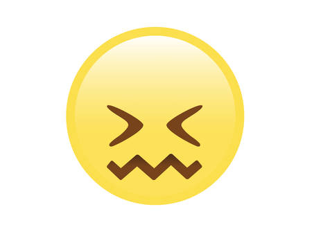 The vector yellow furious, upset, unhappy face with closing eyes icon