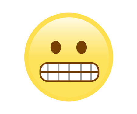 The vector isolated yellow nervous, worried smile face icon with showing teeth