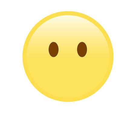 The vector isolated yellow sad and sorrowful face icon