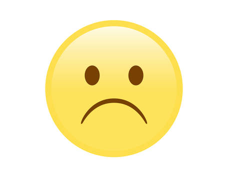 yellow sad and unhappy face icon