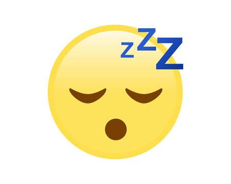 yellow sleepy face flat icon Vector Illustration
